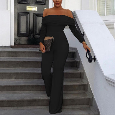 Off Shoulder Mesh Jumpsuit