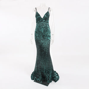 Sequined Backless Maxi Dress