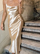Load image into Gallery viewer, Satin Silk Long Dress