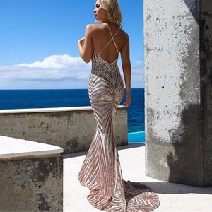 Gold Sequined Backless Bodycon