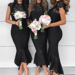 Mermaid lace bridesmaid dress