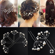 Load image into Gallery viewer, White Pearl Flowers Hairpin