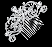 Load image into Gallery viewer, Rhinestone Flower Hair Comb