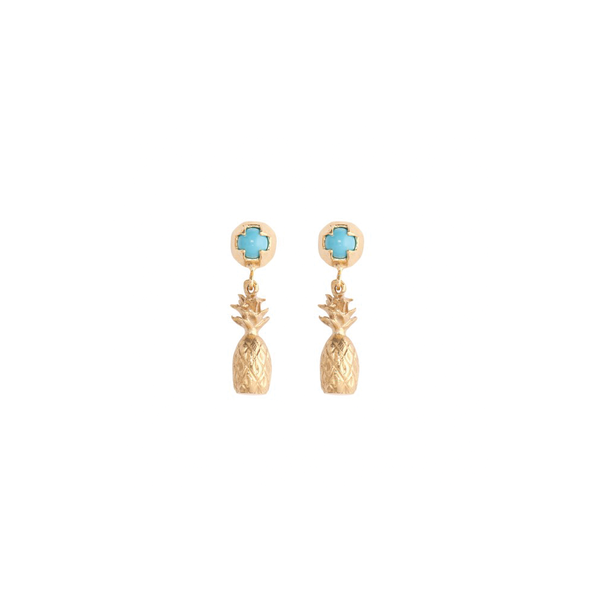 ALOHA PINEAPPLE EARRINGS TURQUOISE