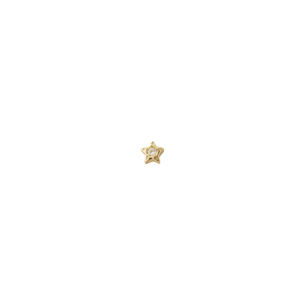 DIAMOND PENTAGRAM STUD EARRING SINGLE
