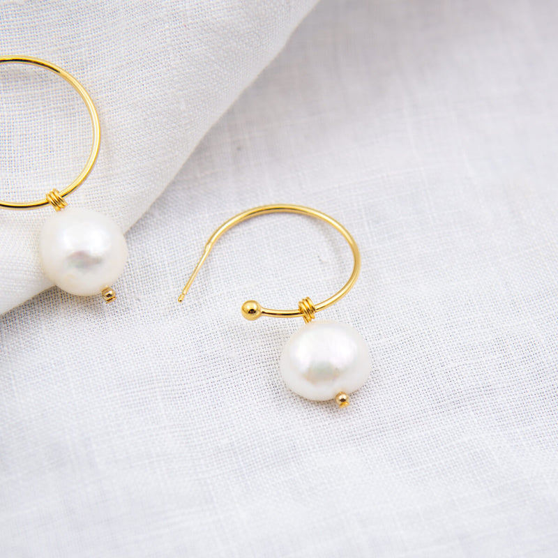 MOLLY NATURAL PEARL HOOP EARRINGS CABINET JEWELLERY