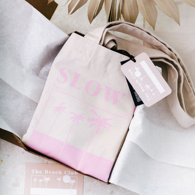 SLOW DOWN TOTE BAG CANDY PINK FADE