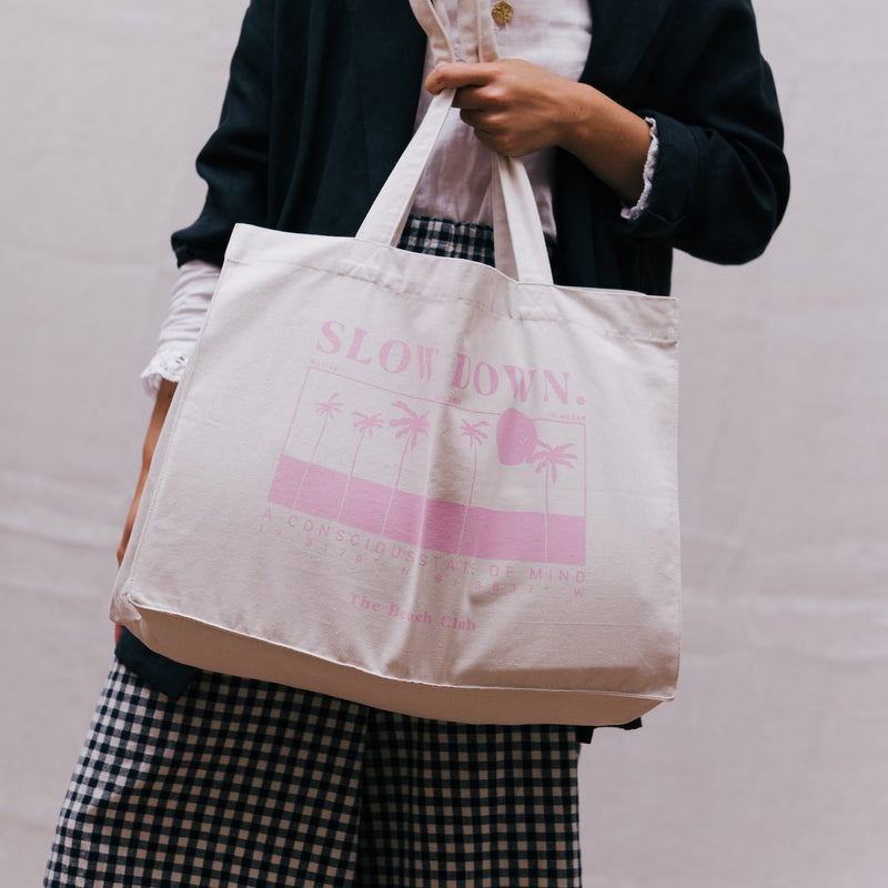 SLOW-DOWN-TOTE-BAG-CANDY-PINK-FADE-CABINET-JEWELLERY