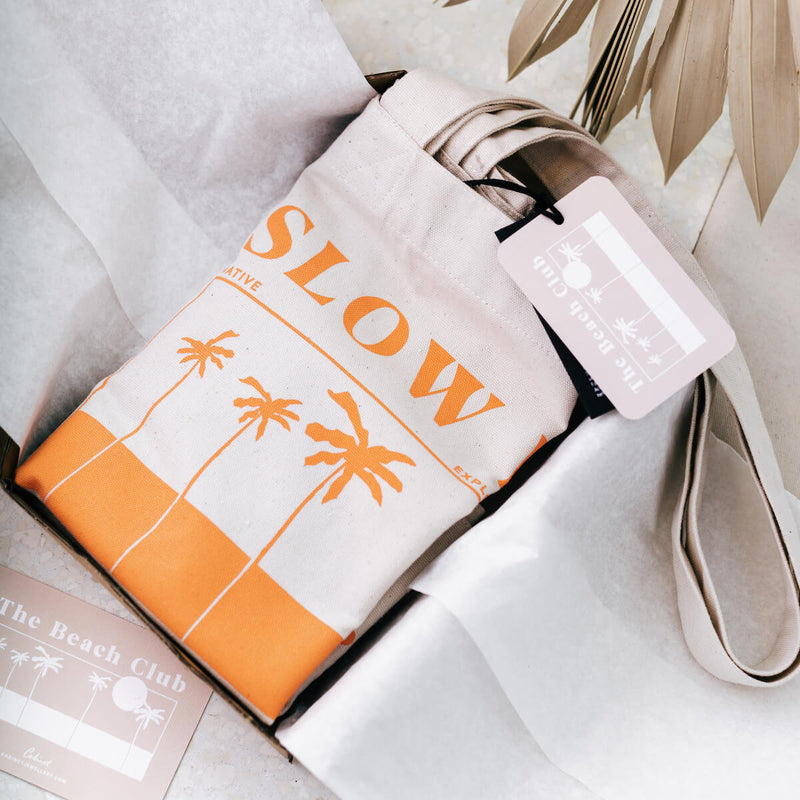 SLOW DOWN TOTE BAG CORAL FADE