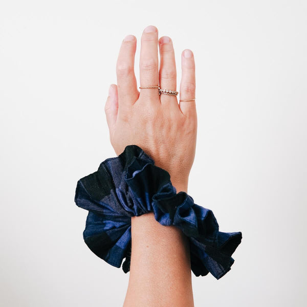 The Navy Gingham Scrunchie