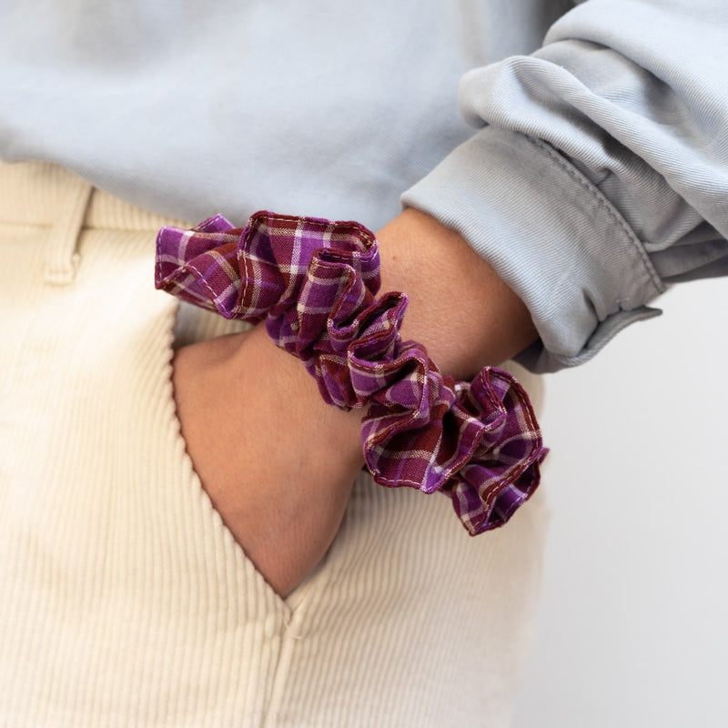 The Fuchsia Check Scrunchie