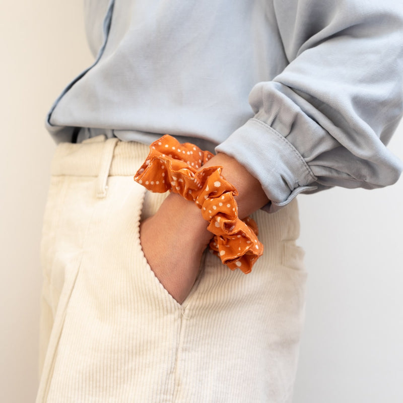 The Peach Polka Dot Scrunchie