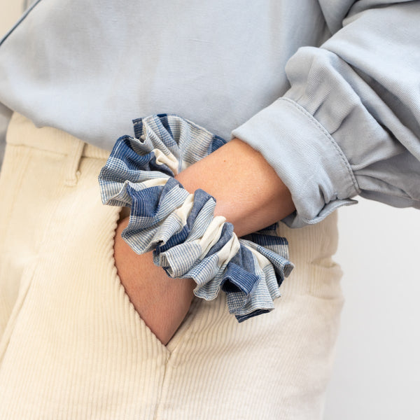 The Oversized Blue Check Scrunchie