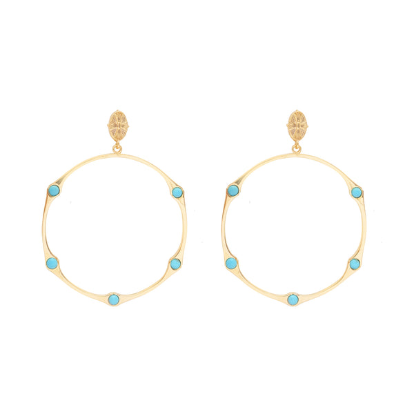 BAMBOO TURQUOISE HINGED SHELL TOP HOOP EARRING