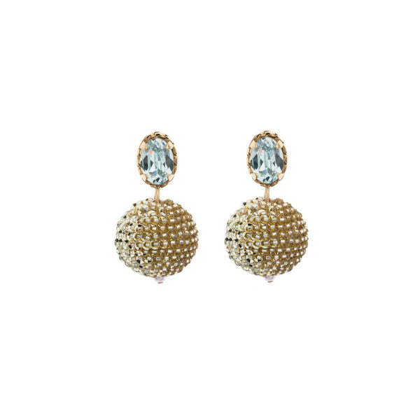CRYSTAL CHAIN POM POM EARRINGS
