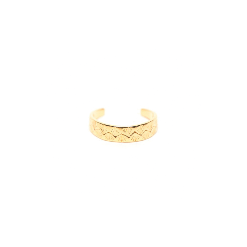 ENGRAVED PALM PINKY RING