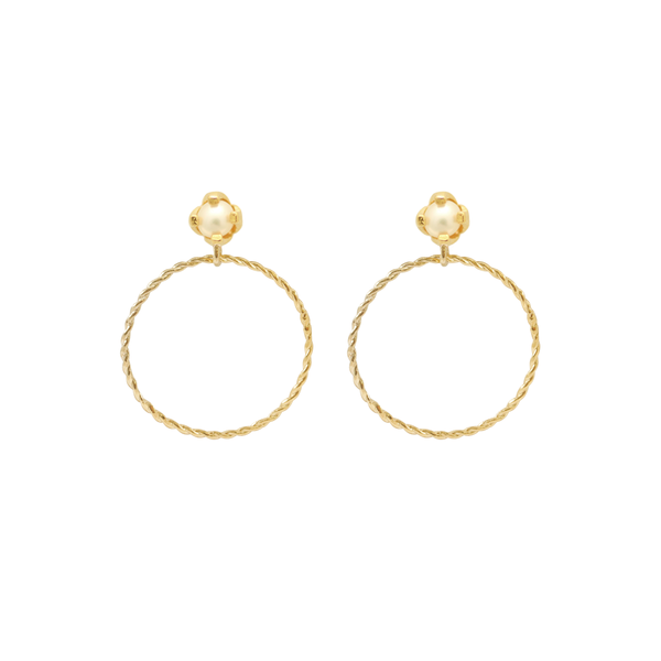 Reef Twisted Pearl Pollen Hoop Earring