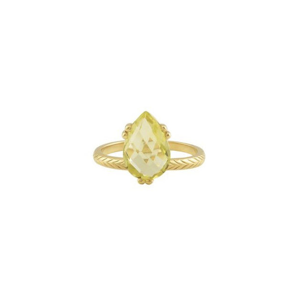 PRECIOUS PEAR RING LEMON QUARTZ