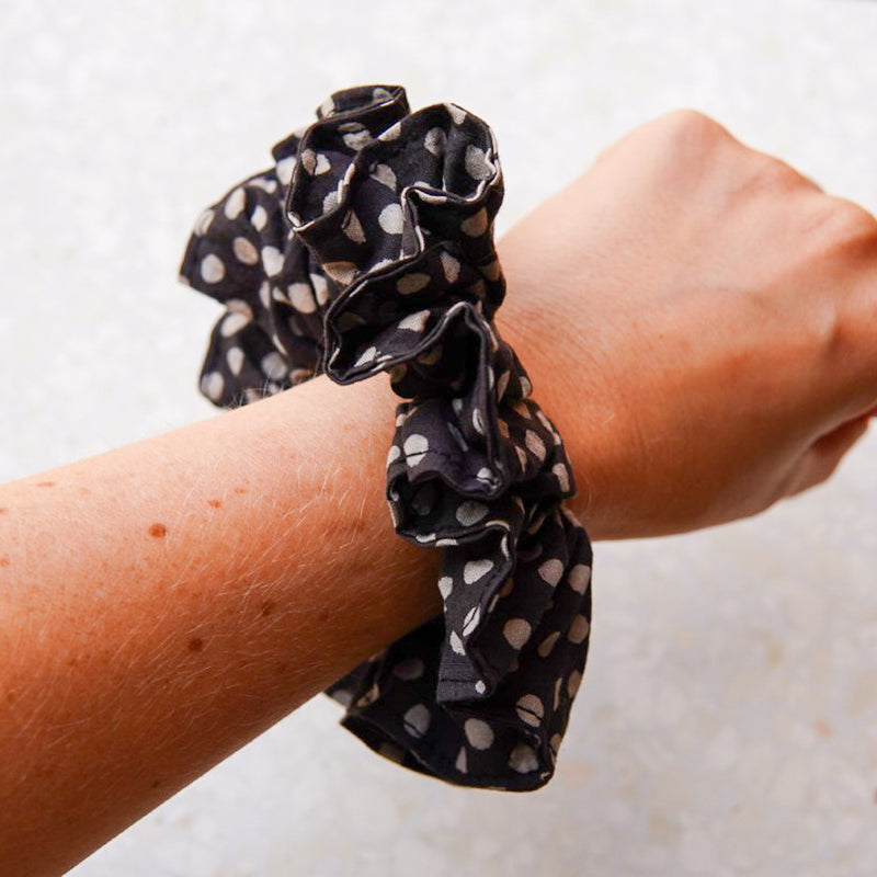 The Black Polka Dot Scrunchie