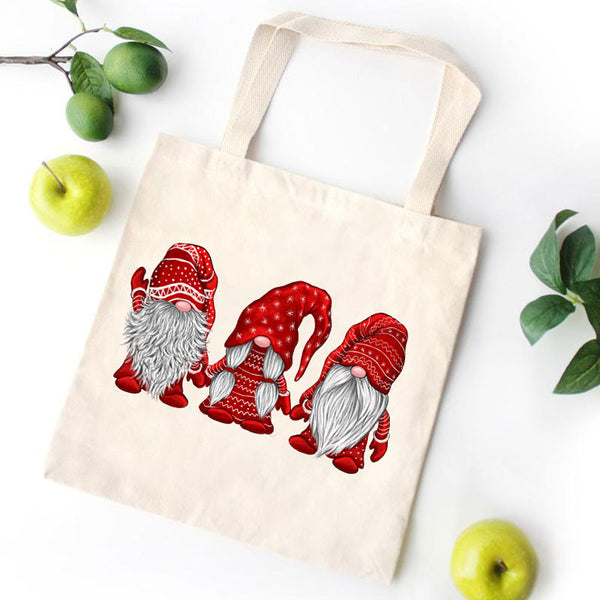 Merry Christmas Gnome Canvas Bag