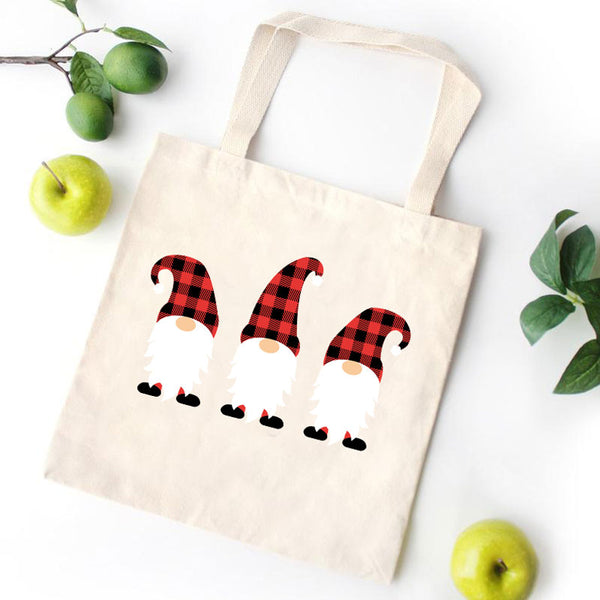 Three Merry Christmas Gnome Canvas Bag