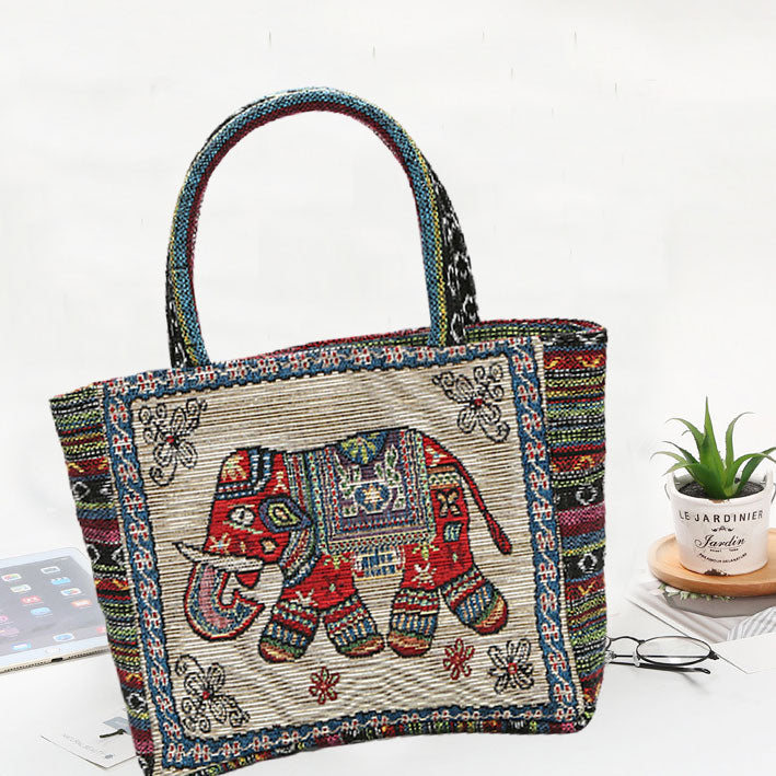 Retro Elephant Canvas Bag
