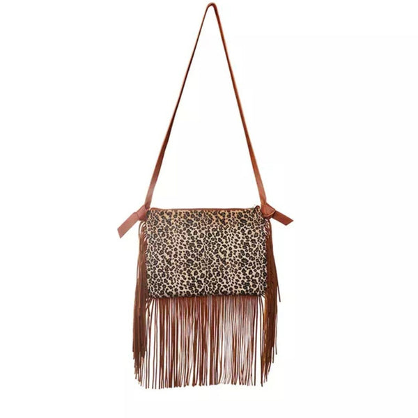 Leopard Tassel Shoulder Bag