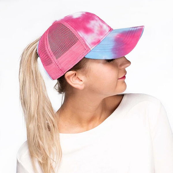 Tie-Dye Mesh Criss-Cross Hollow Out Baseball Cap