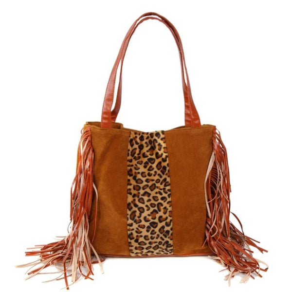 Leopard Tassel Retro Shoulder Bag