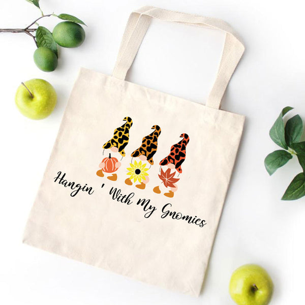 Merry Christmas Gnomies Leopard Canvas Bag
