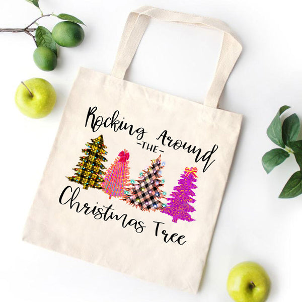Merry Christmas Tree Canvas Bag