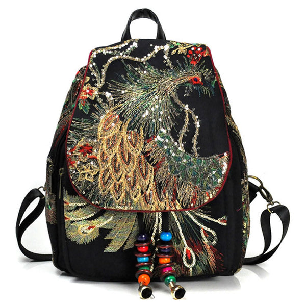 Peacock Embroidered Canvas Bag