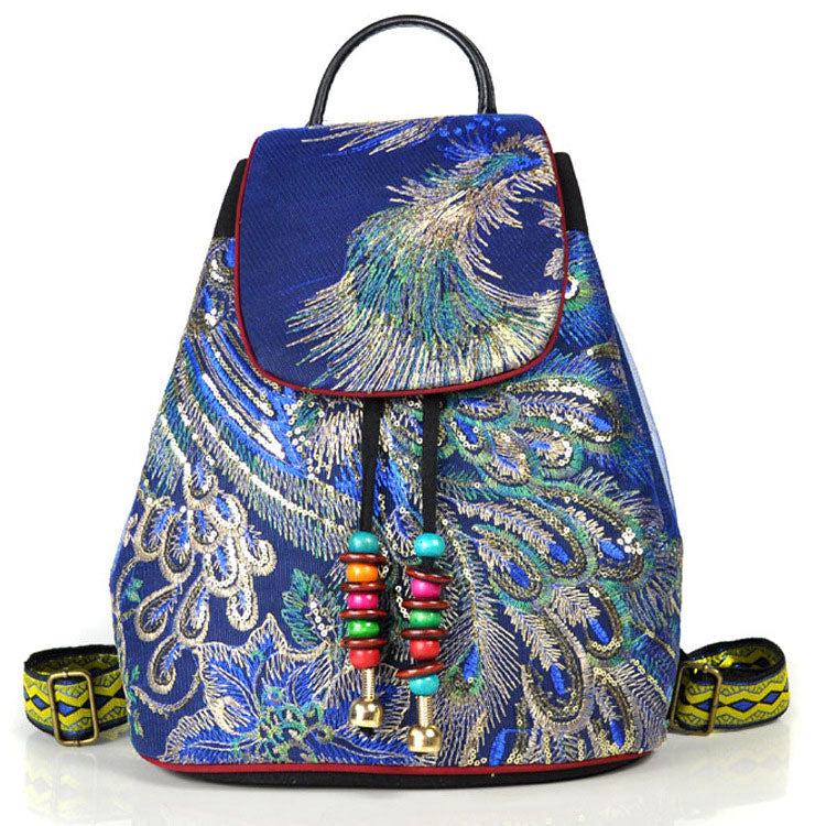 Peacock Embroidered Ethnic Style Backpack