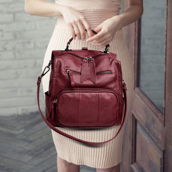 Multifunction Soft Leather Backpack