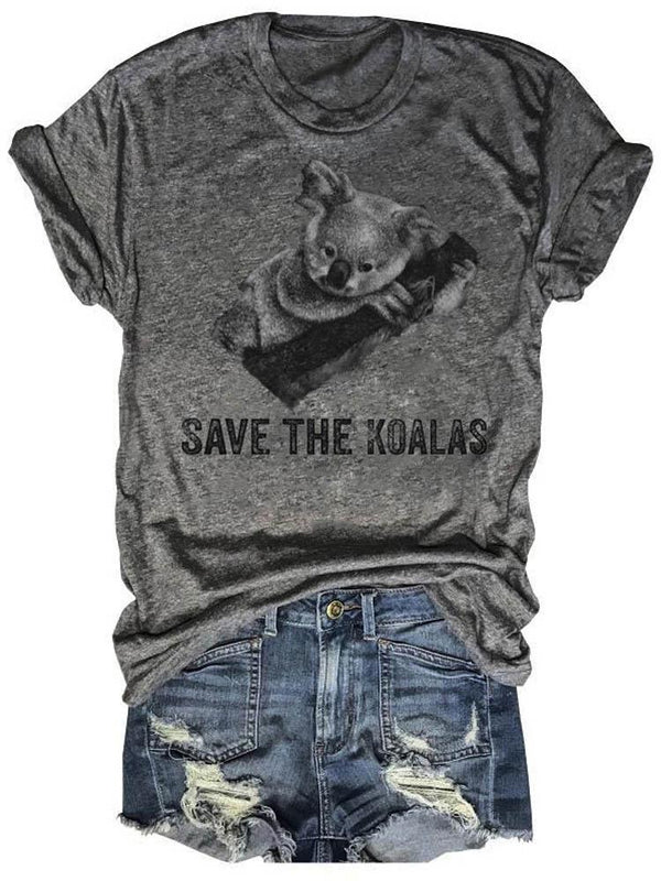 Save The Koalas On Trees Gray Tee