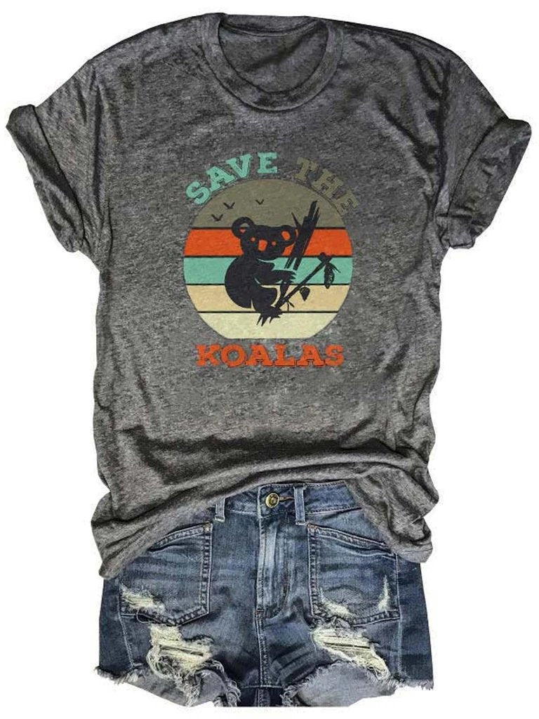 Save The Koalas Colorful Printed Gray Tee