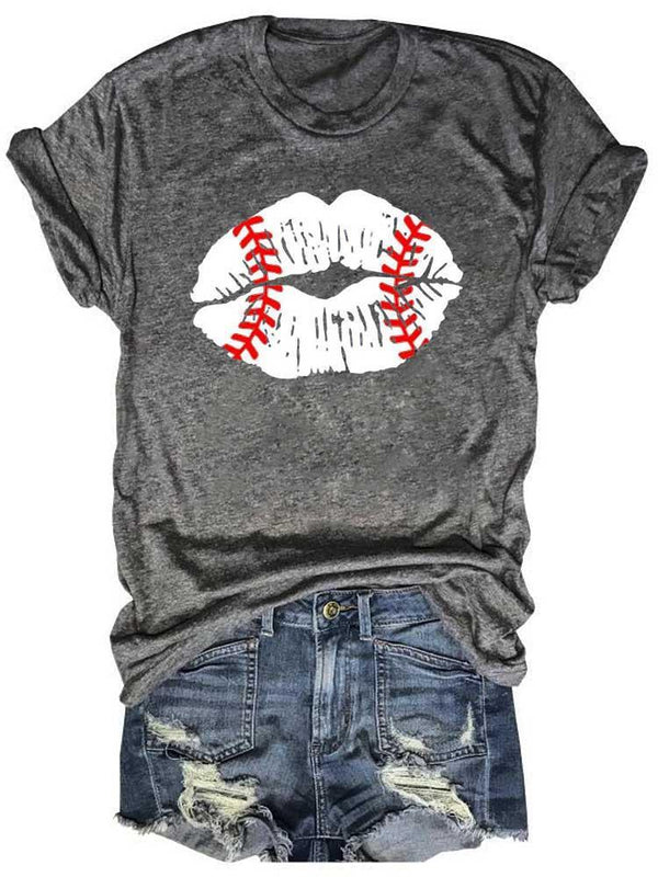 Baseball Lips Texture Novelty Gray Tee