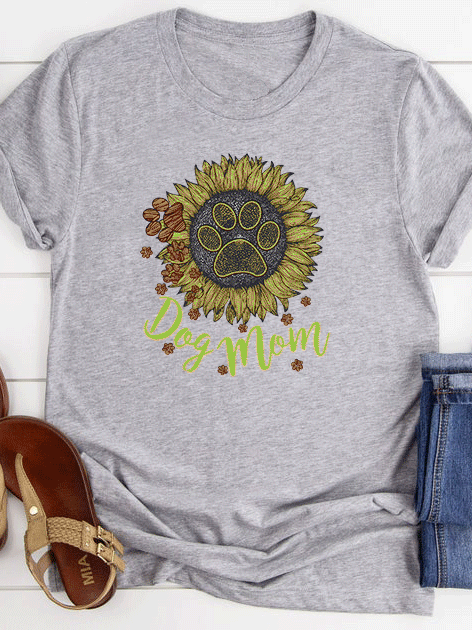 Sunflower Dog Mom T-Shirt