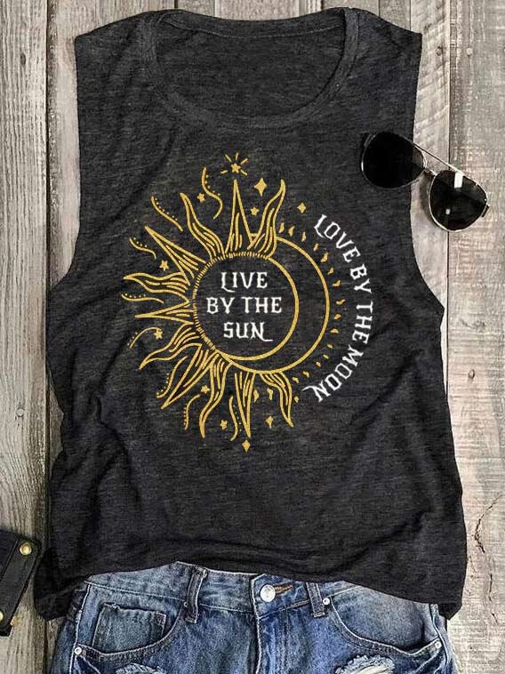 Live By The Sun Love By The Moon Sunflower Tank Top