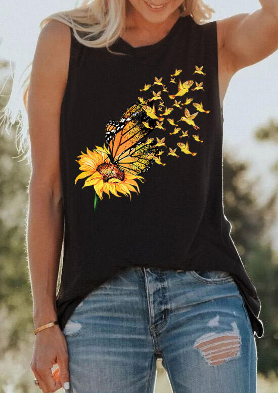 Birds Sunflower Butterfly Tank Top