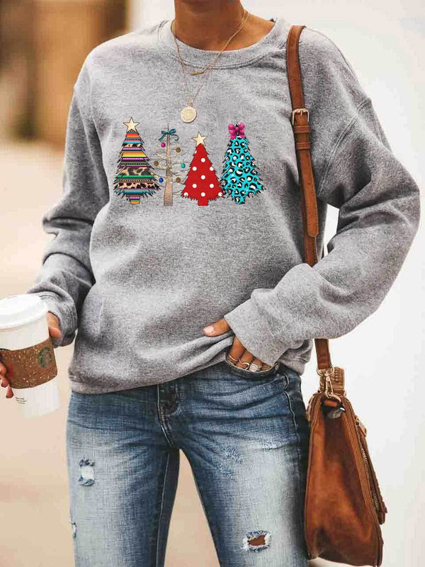 Multicolor Christmas Tree Printed Sweatshirt