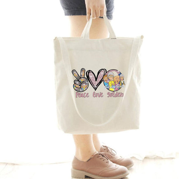 [Special Offer] Peace Love Golden Canvas Bag