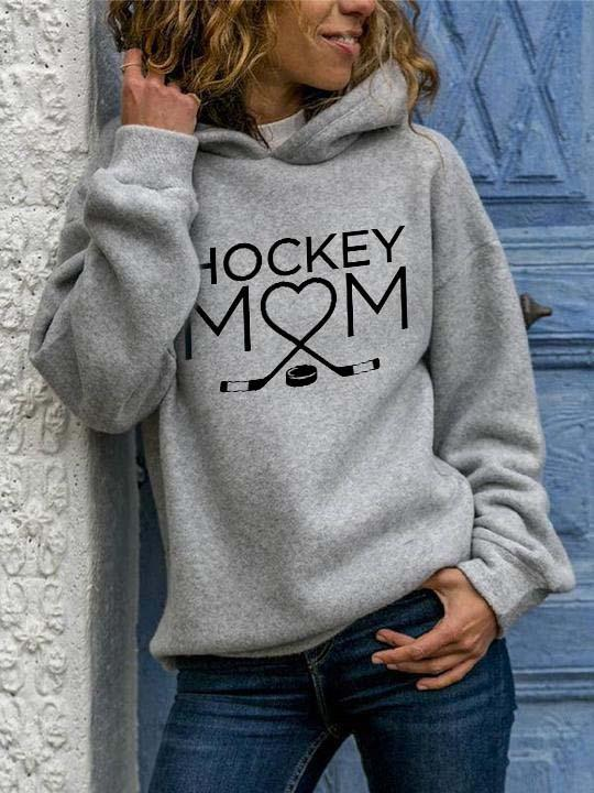 Hockey Mom Long Sleeve Hooded Sweatshirt