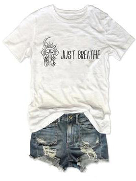 Just Breathe OK Elephant White Tee