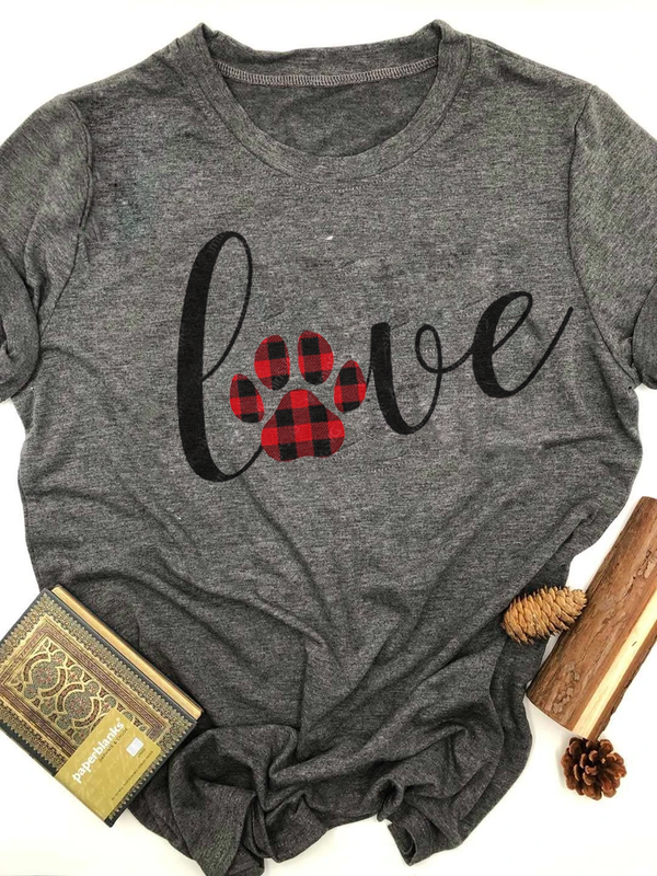 Plaid Dog Paw Love Printed Tee