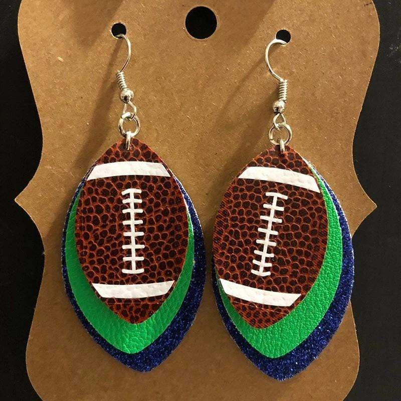 Three Layered American Football Drop Earrings - Prettiess