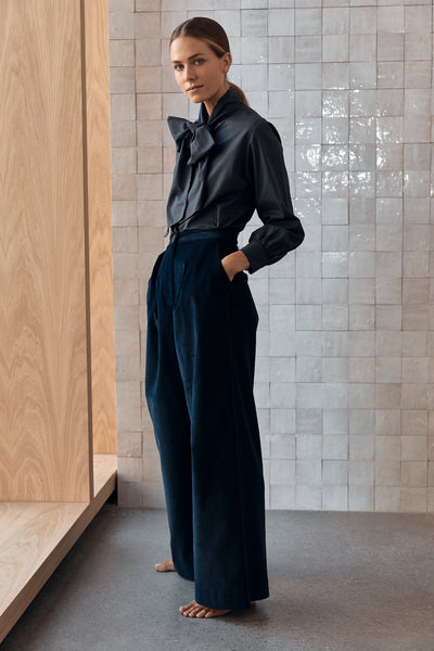 The Wide Leg Trouser - Navy Cord PRE SALE AVAIL MID JULY