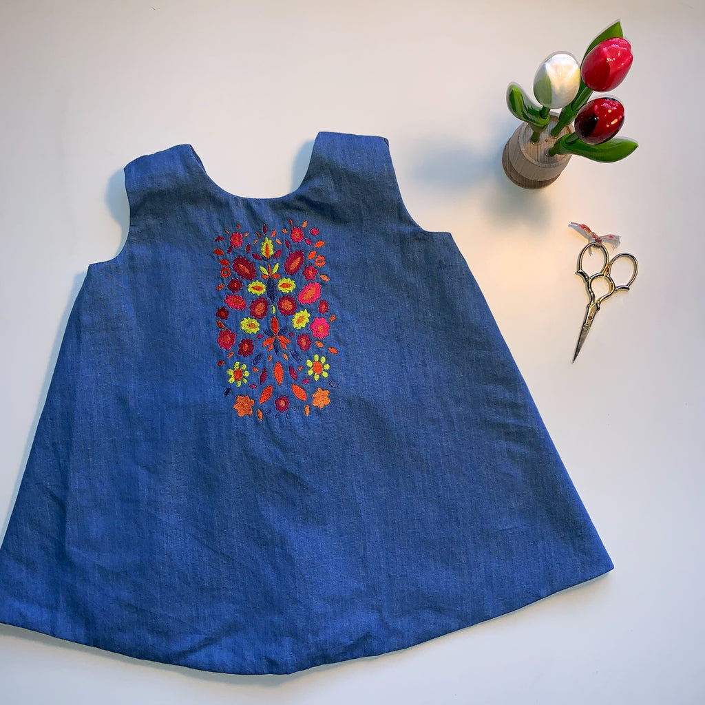 Light Denim Dress with Tie Back | Folk Garden