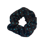 Black Scrunchie with Teal Blue Polka Dots