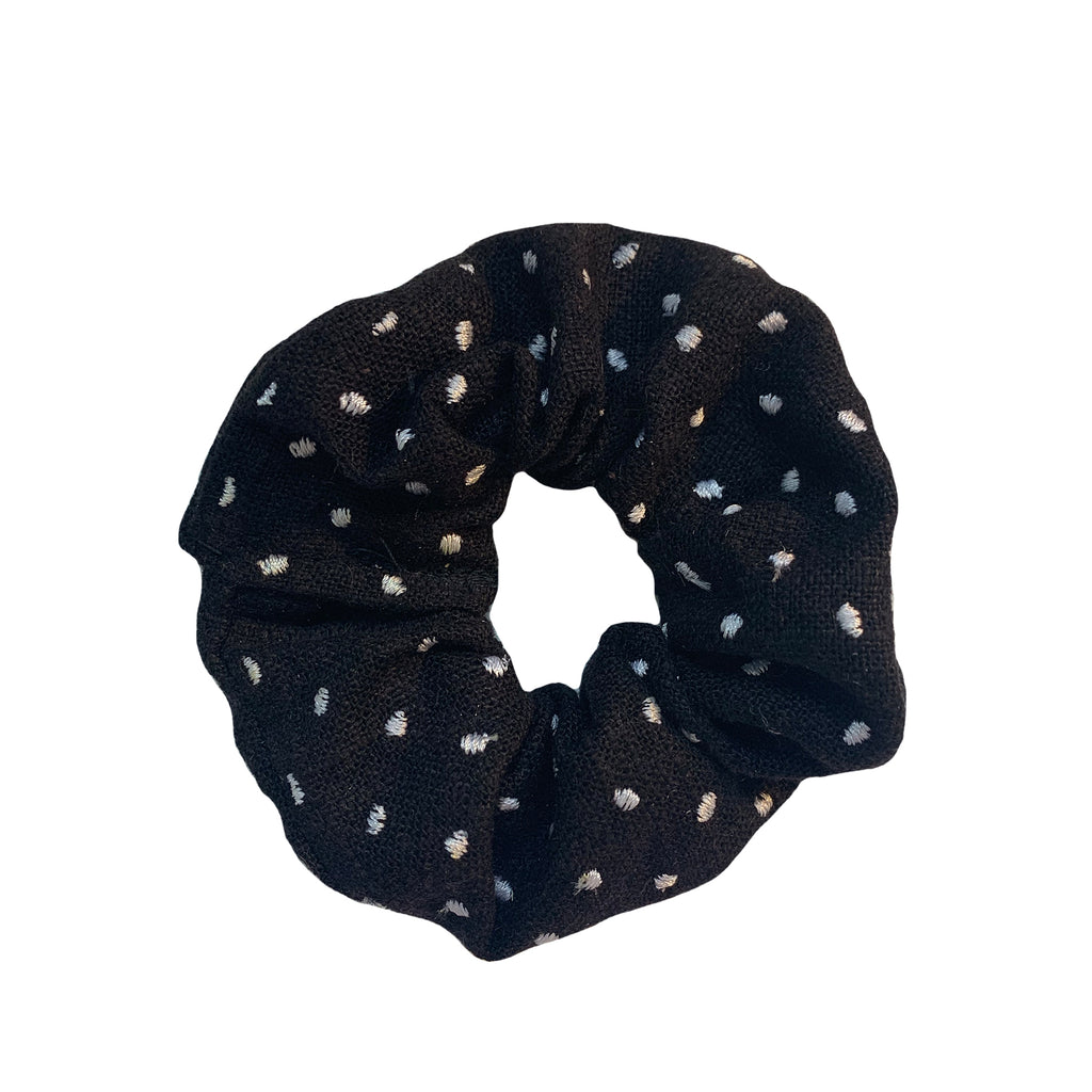 Black Scrunchie with White Polka Dots